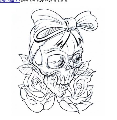 Bow Skull And Roses Outline Tattoo Designs