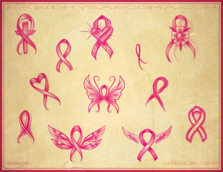 Breast Cancer Awareness Ribbon Tattoo