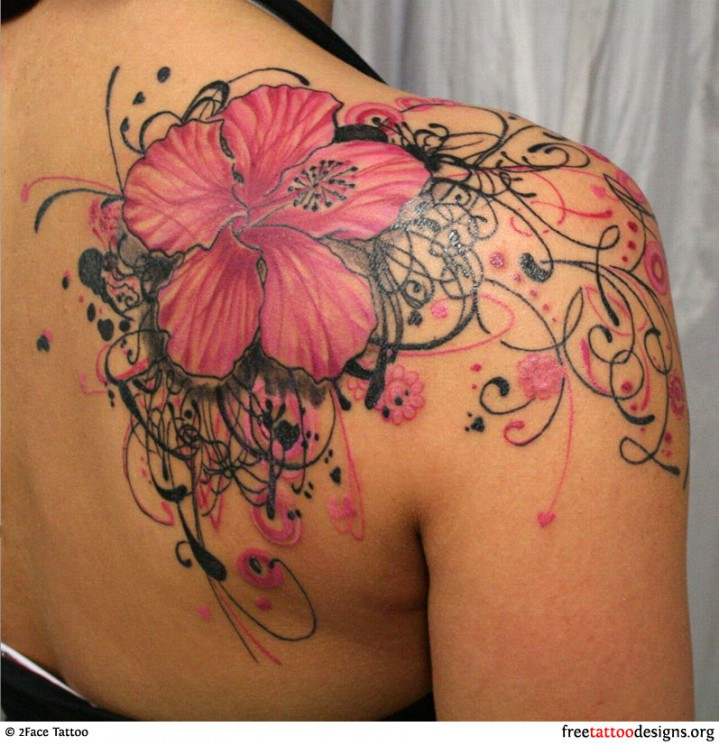 Breast Cancer Ribbon With Red Hearts Tattoo