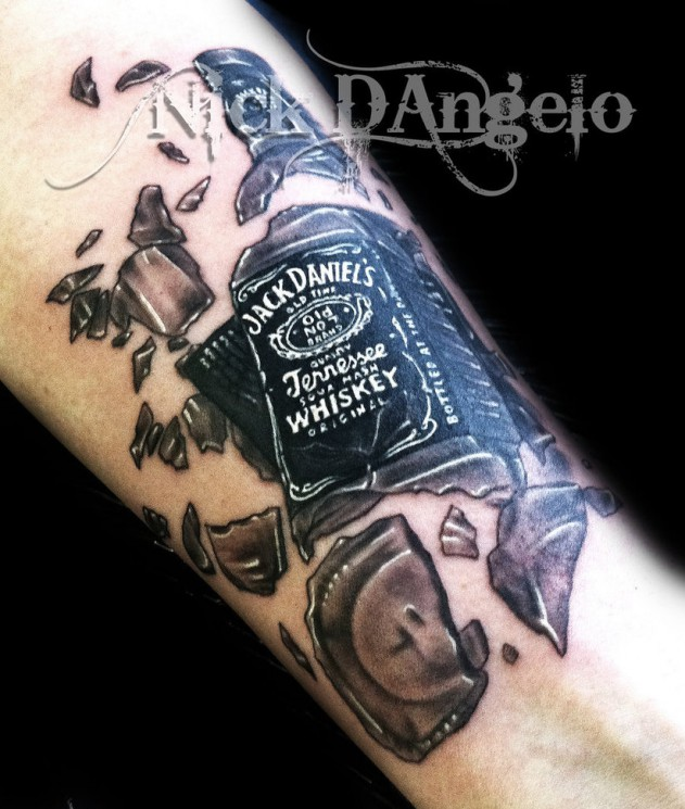 Bottle With Message In Wave Tattoo On Shoulder