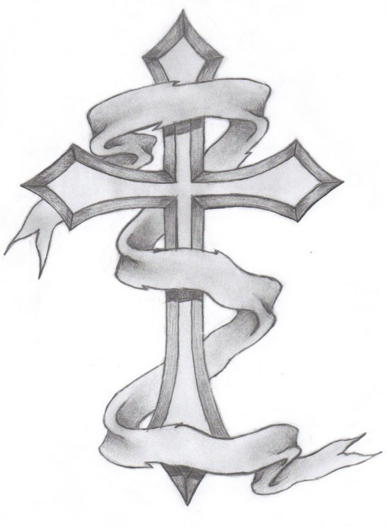 Broken Wooden Cross With Barbed Wire Tattoo