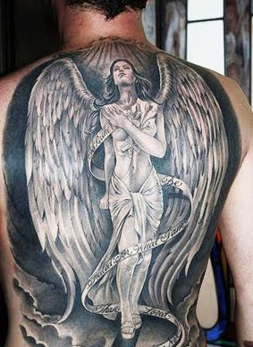 Brown Angel Wings Tattoo Design