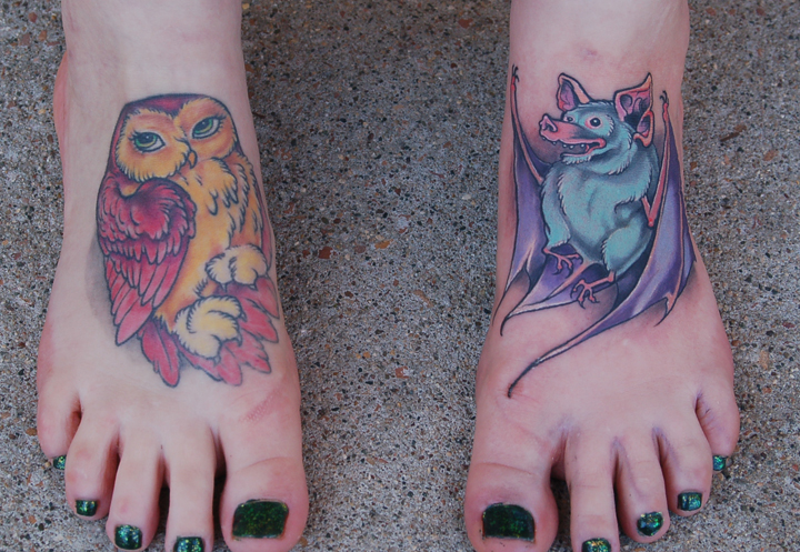 Brown Chubby Owl Tattoo On Foot