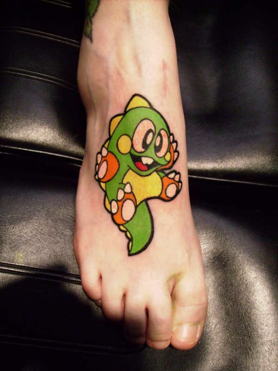 Bubble Bobble Tattoo For Foot