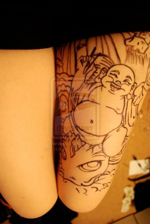 Buddha Tattoo On Thigh