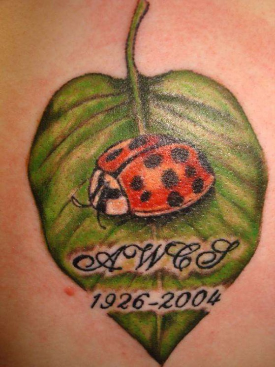 Bug On Leaf Tattoo