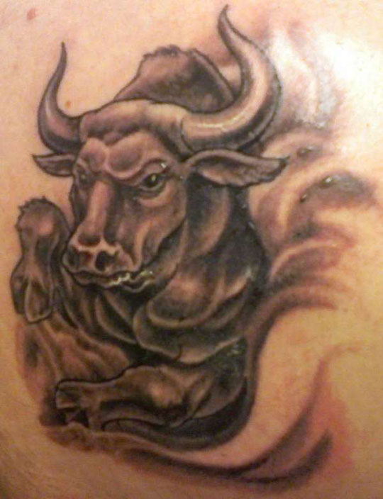 Bull Face Tattoo On Back