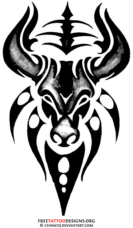Bull Tattoo Design On Back For Women