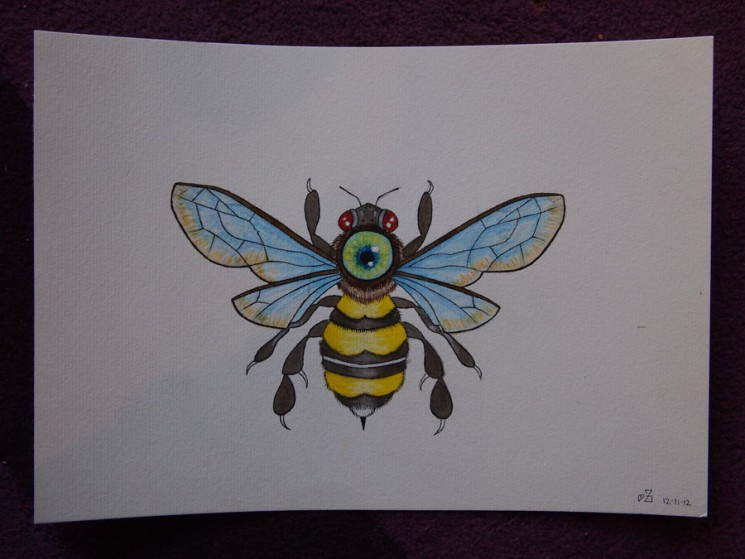 Bumblebee With Peaches Tattoo Design