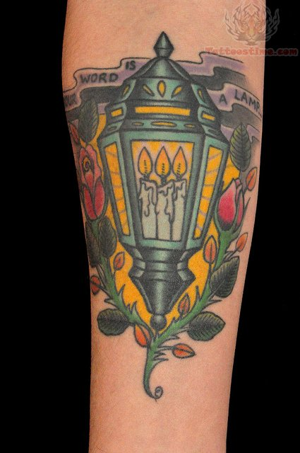 Burning Candle Lamp Tattoo On Chest