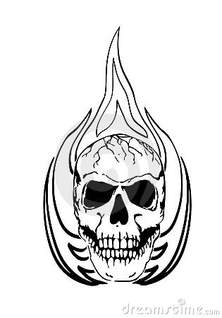 Burning Candle With Bones Tattoo Design