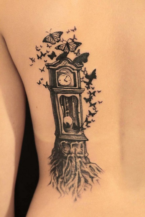 Butterflies And Grandfather Clock Tattoos On Side