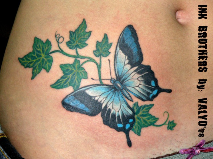 Butterfly And Ivy Leafs Tattoo On Stomach