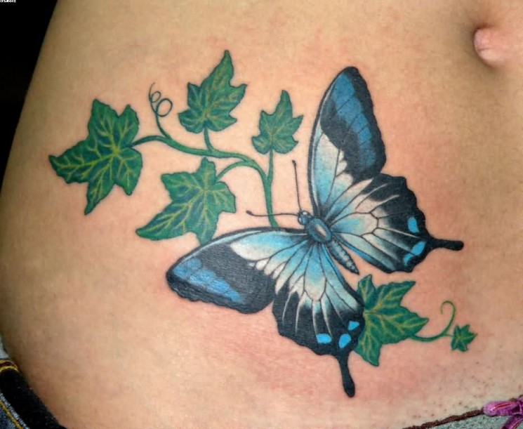 Butterfly And Ivy Leaves Tattoo On Waist