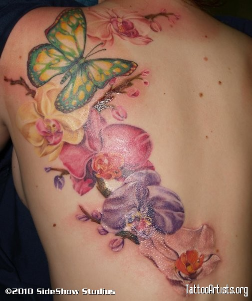 Butterfly And Orchid Tattoos On Lowerback