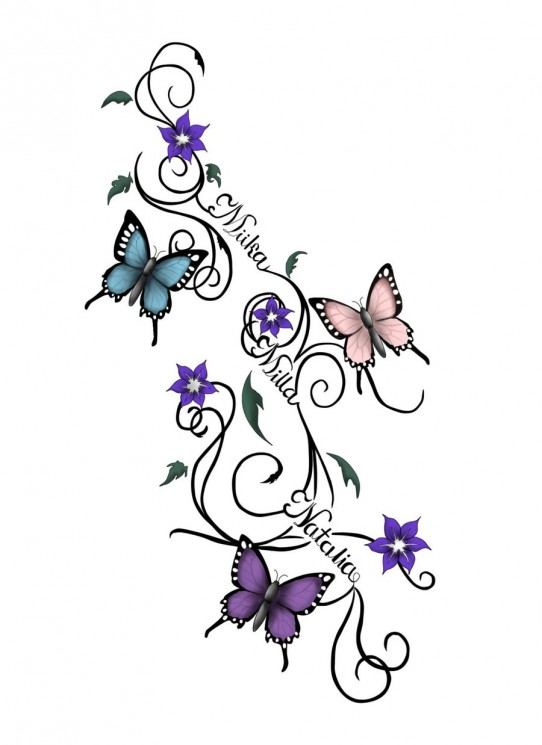 Butterfly Cancer Ribbon Tattoo Print