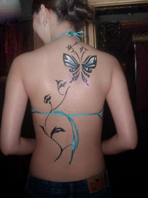 Butterfly Colourful Tattoo Design On Back