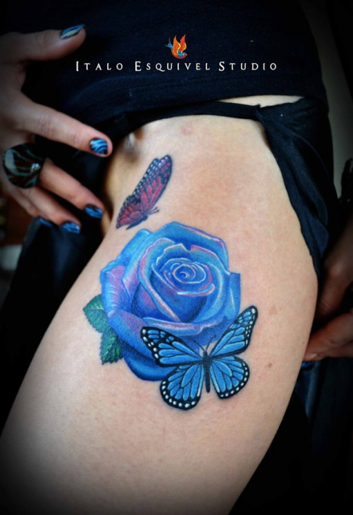 Butterfly On Blue Rose Tattoo On Front
