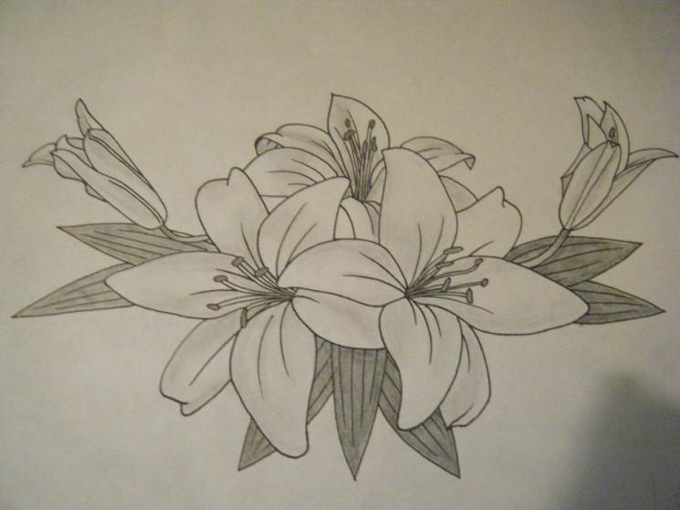 Butterfly On Lily Tattoo Design