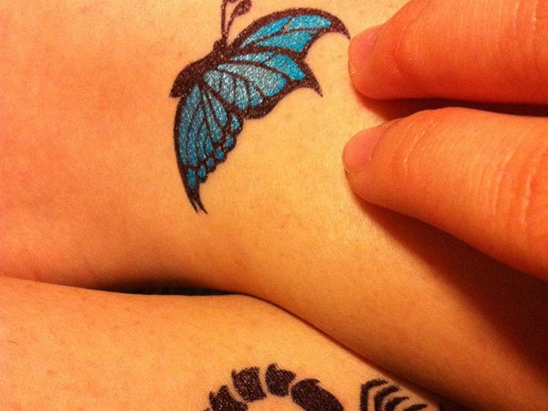 Butterfly Red Blue Tattoo
