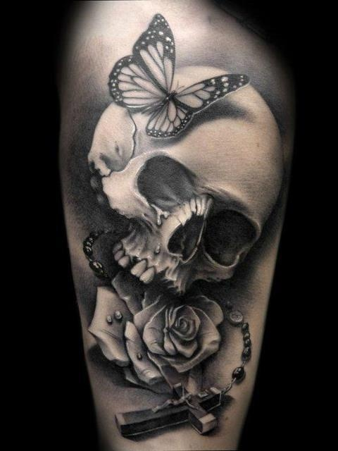Butterfly Roses And Skull Tattoo Designs