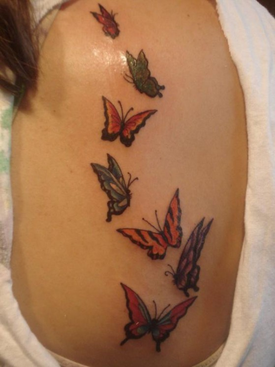 Butterfly Tattoo Design On Foot For Women