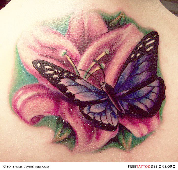 Butterfly With Flower – Shoulder Tattoos