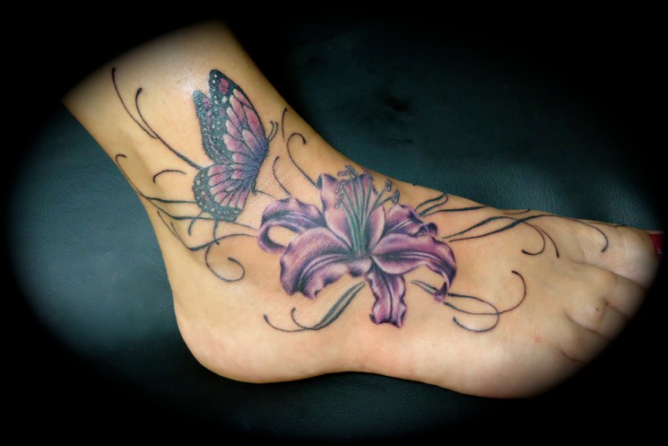 Butterfly n Lily Tattoo On Foot