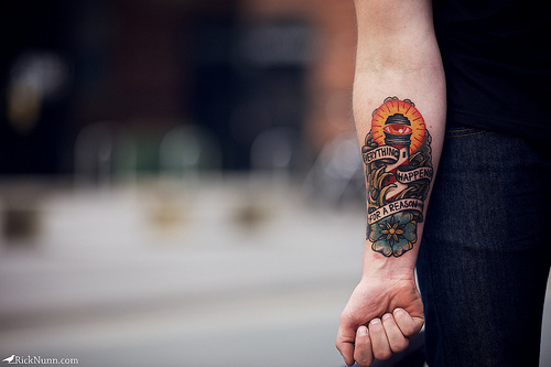 Candle Coffin Tattoo On Arm