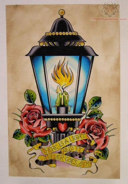 Candle Lamp Tattoo With Banner