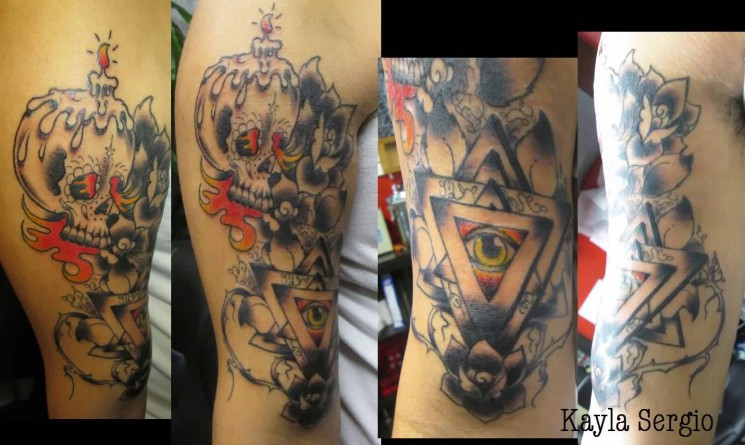 Candle Skull And Triangle Eye Tattoos