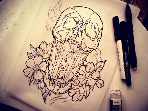 Candle With Flowers Tattoo Design