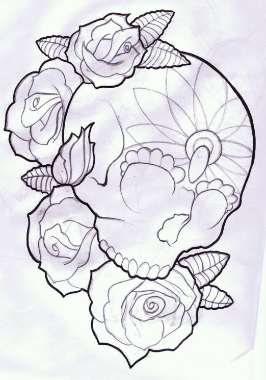 Candy Skull And Roses Tattoo Design