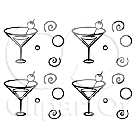 Cartoon Clipart Of A Black And White Martini Glasses Circles And Spirals Tattoos Set