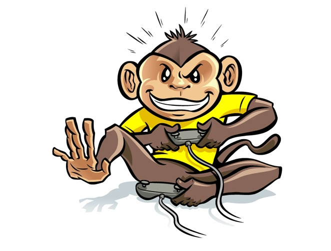Cartoon Monkey Tattoo Design Over White Background