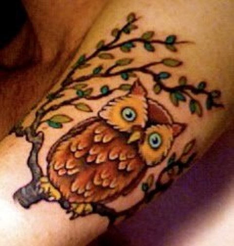 Cartoon Owl Tattoo On Neck