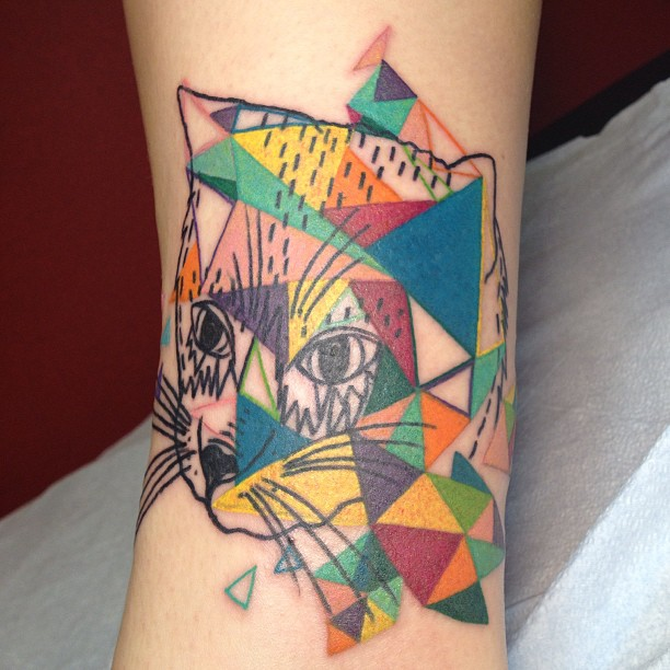 Cat On The Triangle Tattoo