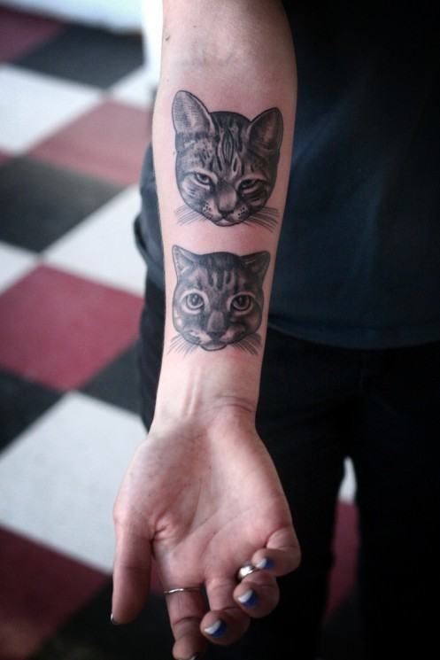 Cat Tattoo On Arm For Girls