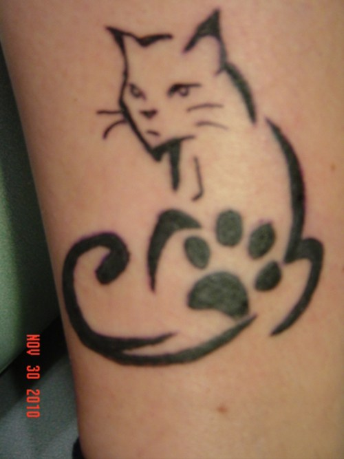 Cat With Paw Tattoos Set