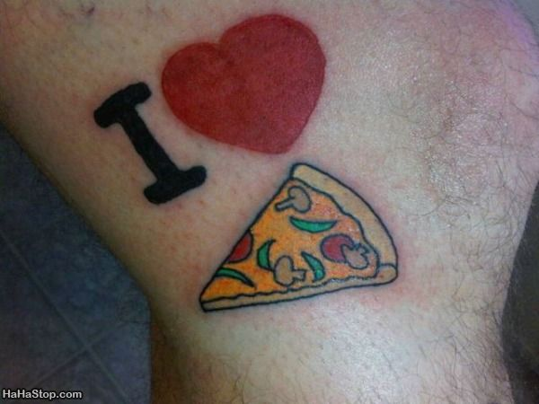 Cat With Pizza Tattoo