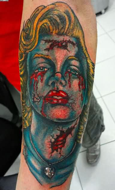 Celebrity Zombie Tattoo On The Arm