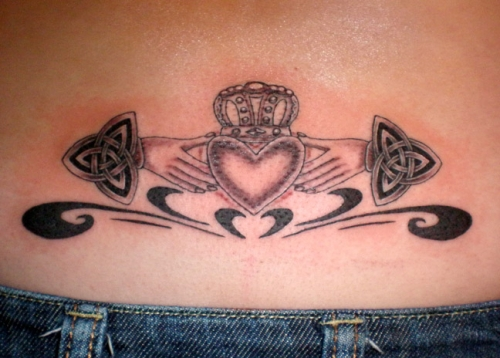 Celtic Knot Claddagh Tattoo On Lower Back