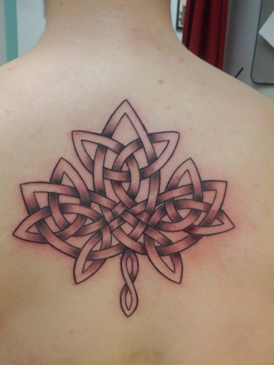 Celtic Leaf Tattoo On Upper Back