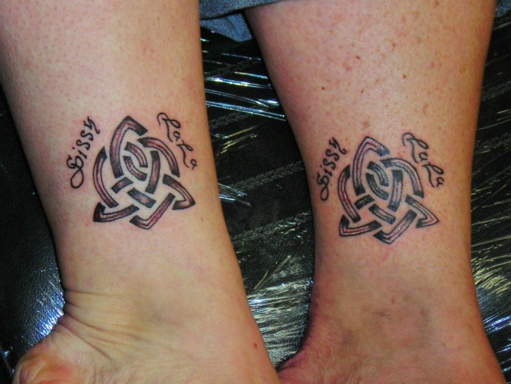 Celtic Sister Knot Tattoo On Ankle