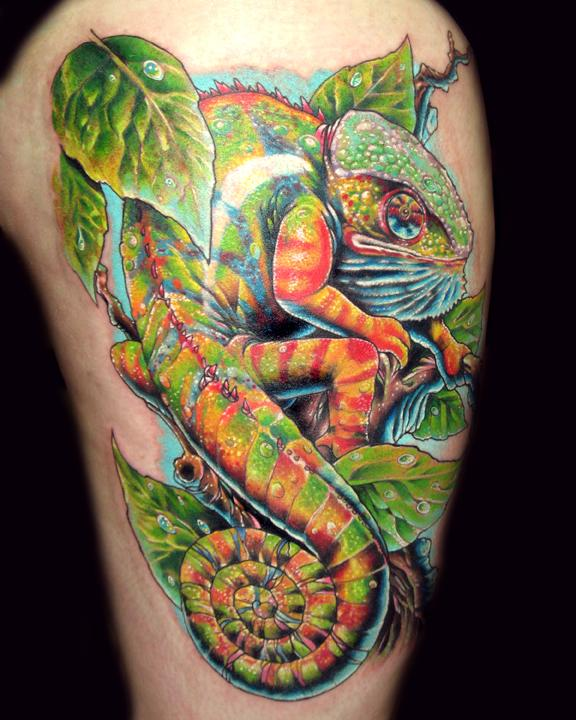Chameleon Wildlife Tattoo On Arm