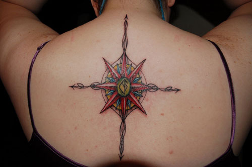 Charming Compass Tattoo On Back