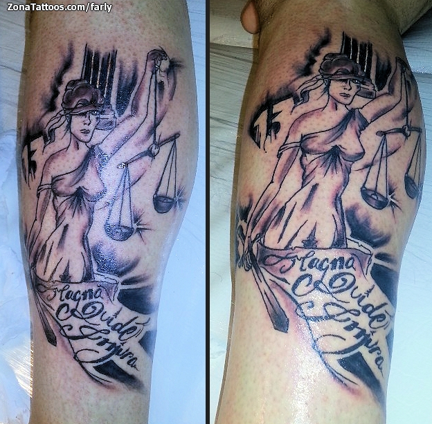Charming Lady Justice Tattoo Design