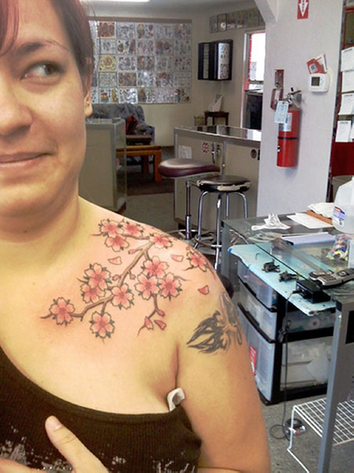 Cherry Blossom Branch Tattoo On Shoulder