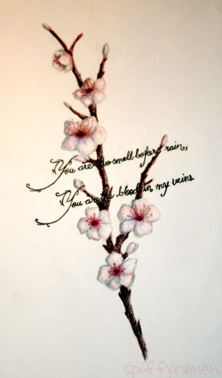 Chained Cherry Blossom n Beaded Rosary Cross Tattoo