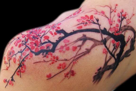 Cherry Blossom Tattoo On Shoulder